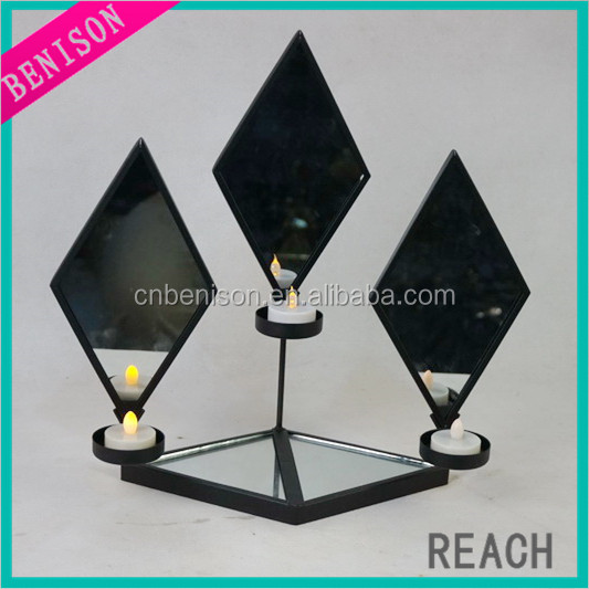 Home Decorative iron diamond set of three wall mirror for table decoration