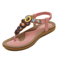 NL7002 beaded women flat maasai flip flops lady thong sandal