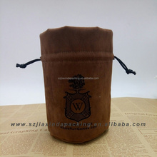 Custom Round Bottom Suede Jewelry Pouch