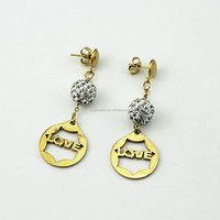 Fashion Jewelry Stainless Steel Gold Plated Diamond Dangler Earrings with Cross Charms