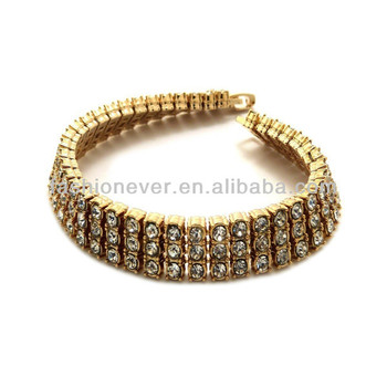 New Celebrity Style Iced Out 3Row Allover Rhinestone Gold Fashion Bracelet