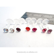 Crystal Gem 16 gauge 16g Plastic Lip Helix Studs Rings