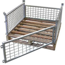 wire steel storage container cage pallet , industrial stackable storage wire mesh cages