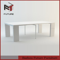 white wooden extendable dining table