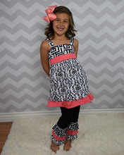 trendy design black white dress and capri pants girls baby clothes