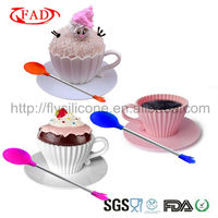 Creative 2013 Food Safe Silicone Decorating Cupcake Form Matching Plastic Saucer and Spoon