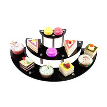 3 Tier Black Acrylic Semicircle Dessert Cupcake Display Stand Rack