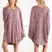 Most Popular Chic Laides Loose Fit Plus Size Dolman Sleeve Wine Boatneck Shift Knitted Sweater Dress China Manufacturers