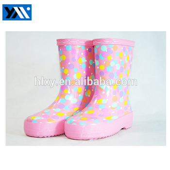 2017 new pink rain boots for kids lovely children waterproof rainboots