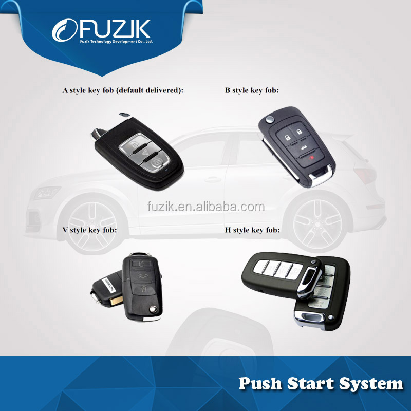 Fuzik DC 12V Voltage High Quality Car Alarm and keyless entry keyless engine start / stop for Rapid for Skoda