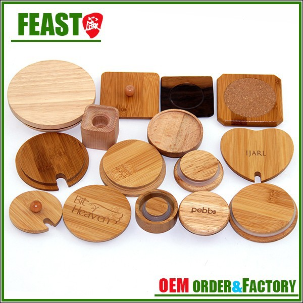 Contemporary discount ceramic jar wood lids or wooden cover
