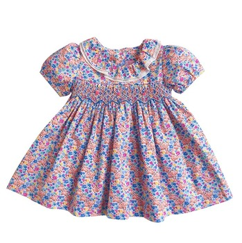 2019 new wholesale toddler dress  boutique short sleeve flower baby smocked dresses in cotton for summer 0-3 years old