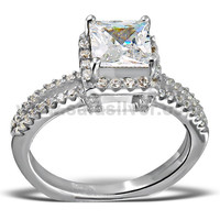 Princess Cut Square CZ Gemstone Prong Set 925 Sterling Silver Unisex Band Ring Wholesale Cubic Zirconia Jewelry