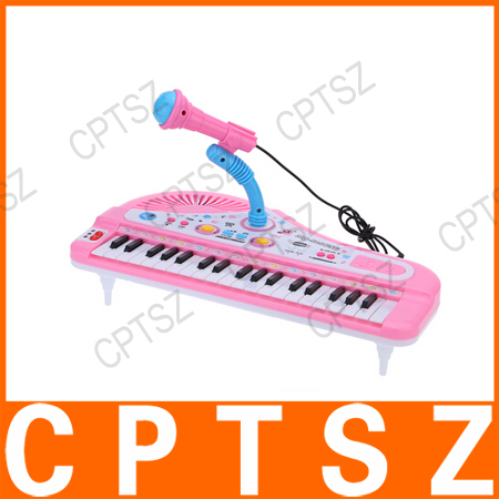 37 Keys Cartoon Mini Electronic Keyboard Music Toy with Microphone and USB Port Educational Electone Gift for Children Kids Babi