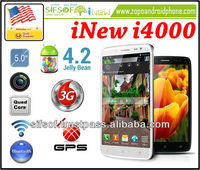 "INEW I4000 Quad Core 3G Smartphone MTK6589T 1.2GHz 5"" Full HD Touch Screen 1GB+16GB Android 4.2 8MP GPS cell phone - White"