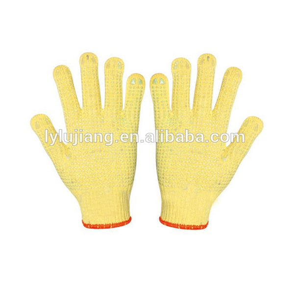 Lujiang Brand Hot Fashion Color Construction Gloves PVC Dotted Cotton Safety Gloves
