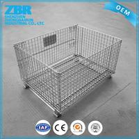 Foldable metal storage cage/stackable storage cage plastic crates for sale