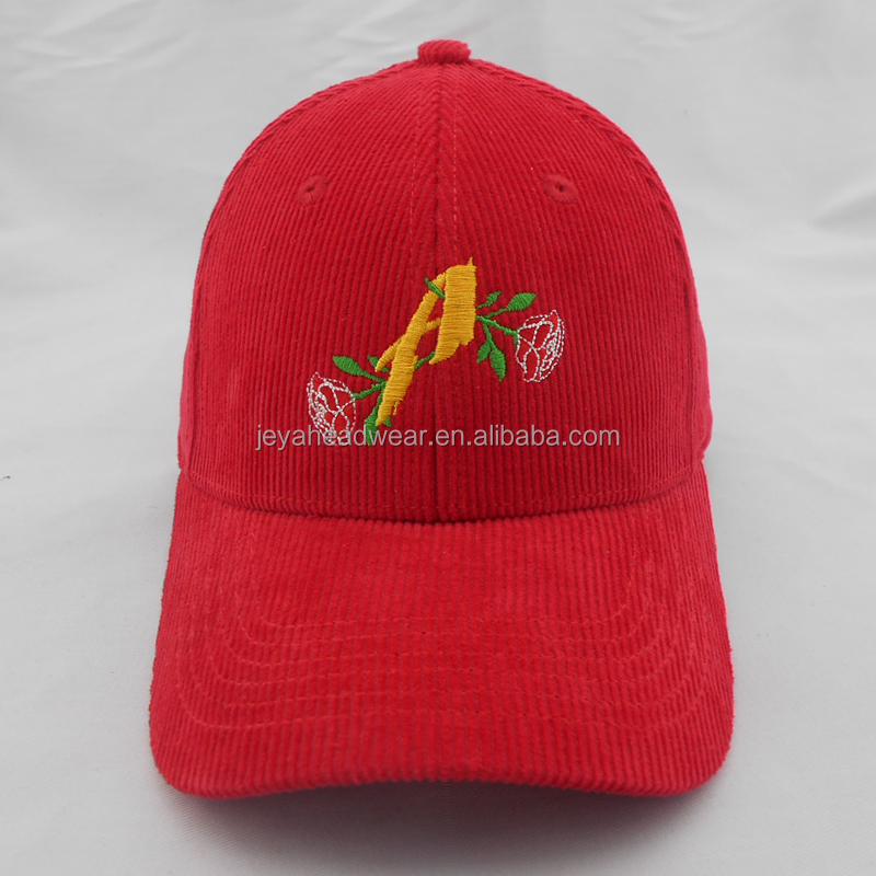 Corduroy Fabric Red Embroidery Hats , Flat Embroidered Rose Winter Baseball Cap