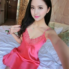 Wholesale lace sleeping skirt hot night wear with silk ice silk sexy lingerie strap summer sleep dress for women