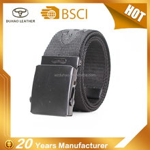 Black nylon fabric webbing polyester printed belt with slide buckle