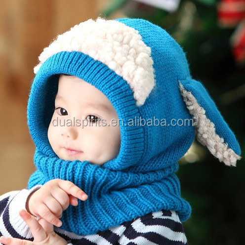 Hood Scarf Caps Set, Cute Ear Winter Warm Unisex Baby Hats Knitted Hat supplier
