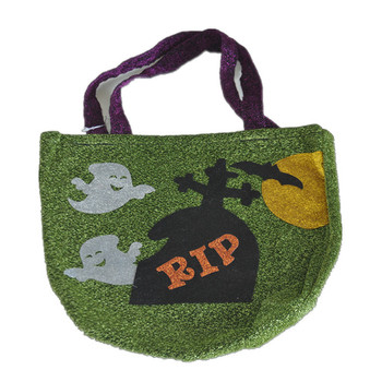 custom children good quality green glitter halloween tote candy bag kids party bags