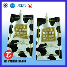 customized liquid water milk juice oil plastic stand up packaging bag corner spout bag with cap