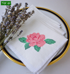 white embroidered linen cocktail napkins wholesale