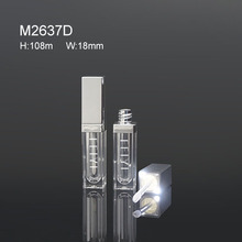metallic silver plastic empty led light lip gloss container