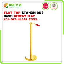 Flat Top Queue Lawrence Queuing Gold Stanchions Rope Floor Poster Display Stand