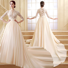 Best Selling Lace Appliqued Breathable Satin Long Sleeve Wedding Dress Vintage Wedding Dresses ZCL02