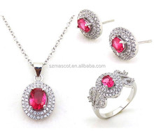 2016 Hot silver sets Jewelry with rhodium plating and red color ziron