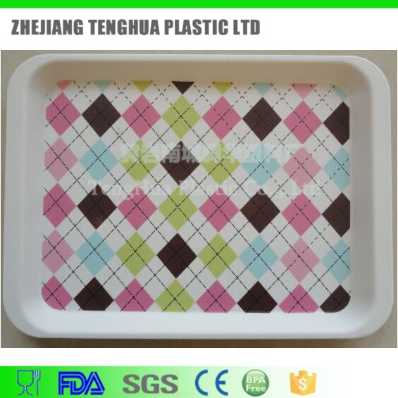 Alibaba China rectangular solid plastic serving tray dinner plate