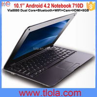 Cheap Mini Laptop 10.1 inch with Via8880 Dual Core Android 4.2 512MB RAM 4GB HDD 710D (Black)