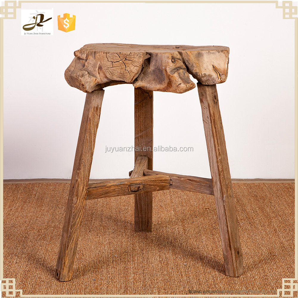 antique natural original vintage rustic 3legged high wood stool
