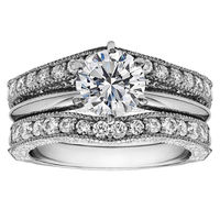 PES Fashion Jewelry! 2-Pieces Round Cubic Zirconia Solitaire Wedding Stackable Ring and Guard Set (PES6-1672)