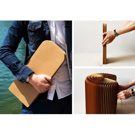 Portable Folding Stools Kraft Paper Stools Folding Sofa Outdoor Party Portable Sofa Artworks Home Table Scalable Sofa