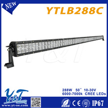 Remote control or bluetooth dimmable 4x4 288W 50inch curved led light bar,Higher illumination