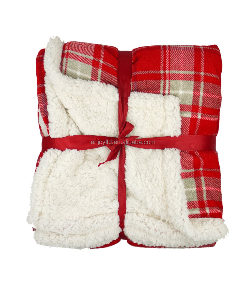 2016 New fashion 100 polyester knitted sherpa fleece blanket