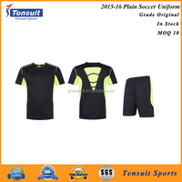 Hot sale stock lot football uniform wholesale small MOQ plain cheap soccer jersey