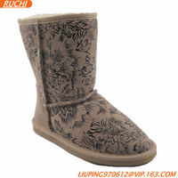 Fashion Woman Printing Winter Snow Boots Warm Fur Boots