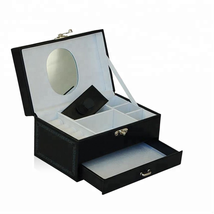Private belongings drawer mirror luxury faux leather best monthly makeup box cosmetic box