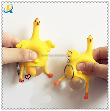 Korea creative toys funny vent Keychain squeeze hens lay eggs chicken spoof tricky decompression funny toys