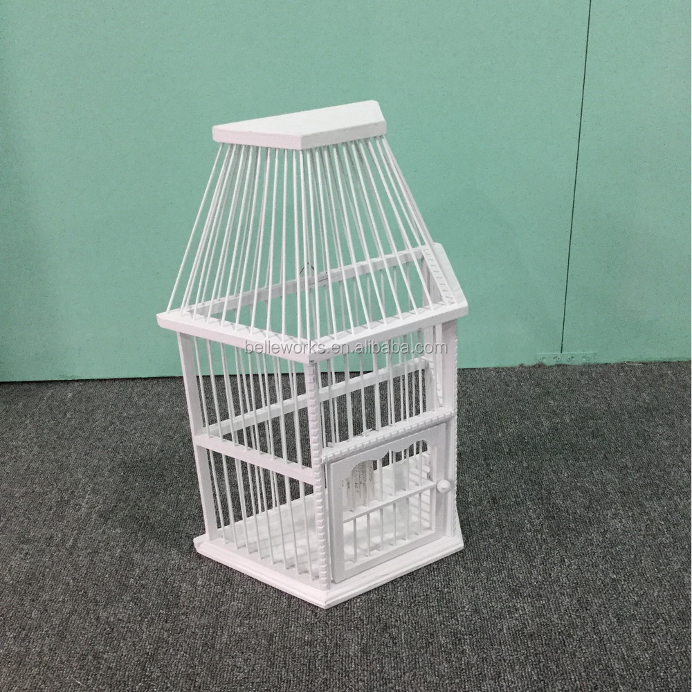 Handmade Outdoor bamboo bird cages, white wooden bird cage for decor