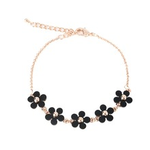 High Quality Small Black Pink Flower Bracelet Real Gold Plated High-grade Plastic Link Bracelet for Women Valentine's Day gift