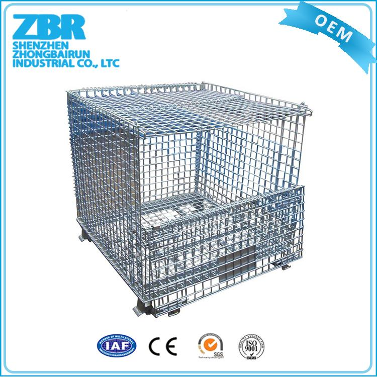 Collapsible folding steel wire mesh container steel storage cage rack
