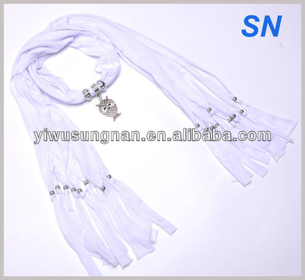 Trendy Owl Pendant Scarf with jewelry in white