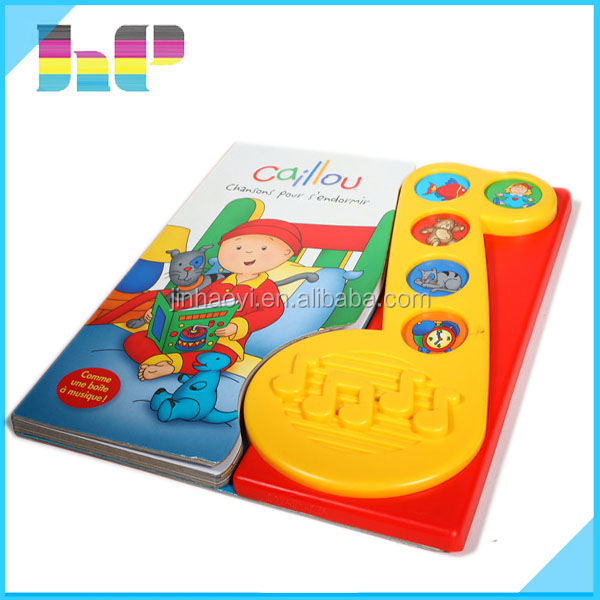 China mainland free sample child music book with button printing