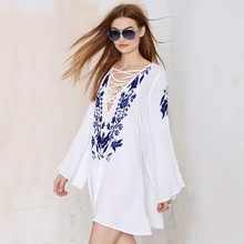 HAODUOYI Women Floral Emboridery Chiffon Mini Dress Sexy Straps Mini Dresses for Wholesale