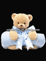 Hot selling high quality stuffed animal soft plush teddy bear baby toy holding a blanket